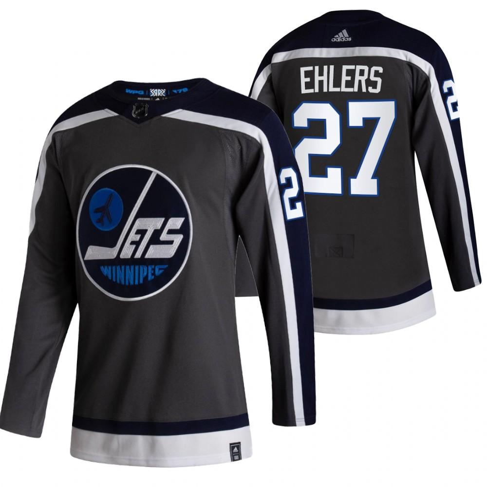 Winnipeg Jets #27 Nikolaj Ehlers Black Men's Adidas 2020-21 Reverse Retro Alternate NHL Jersey