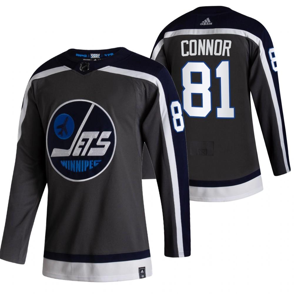Winnipeg Jets #81 Kyle Connor Black Men's Adidas 2020-21 Reverse Retro Alternate NHL Jersey