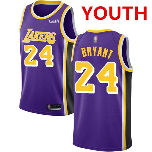 Youth Los Angeles Lakers #24 Kobe Bryant Purple Basketball Swingman Statement Edition Jersey