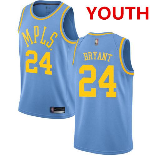 Youth Los Angeles Lakers #24 Kobe Bryant Royal Blue Basketball Swingman Hardwood Classics Jersey