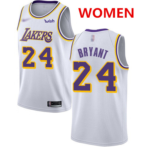 Women's Los Angeles Lakers #24 Kobe Bryant White Basketball Swingman Association Edition Jersey