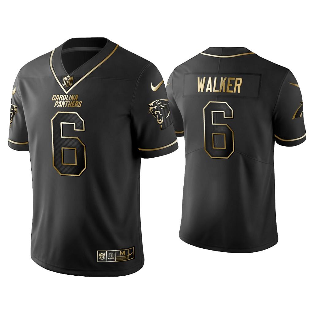 Men's Carolina Panthers #6 P.J. Walker Golden Edition Vapor Limited Black Nike Jersey