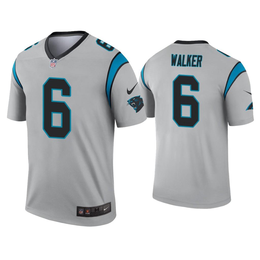Men's Carolina Panthers #6 P.J. Walker Silver Inverted Legend Nike Jersey
