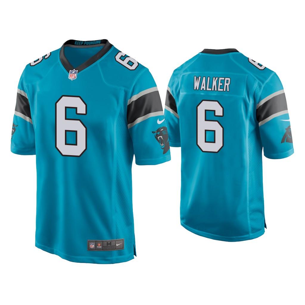 Men's Carolina Panthers #6 P.J. Walker Blue Game Nike Jersey