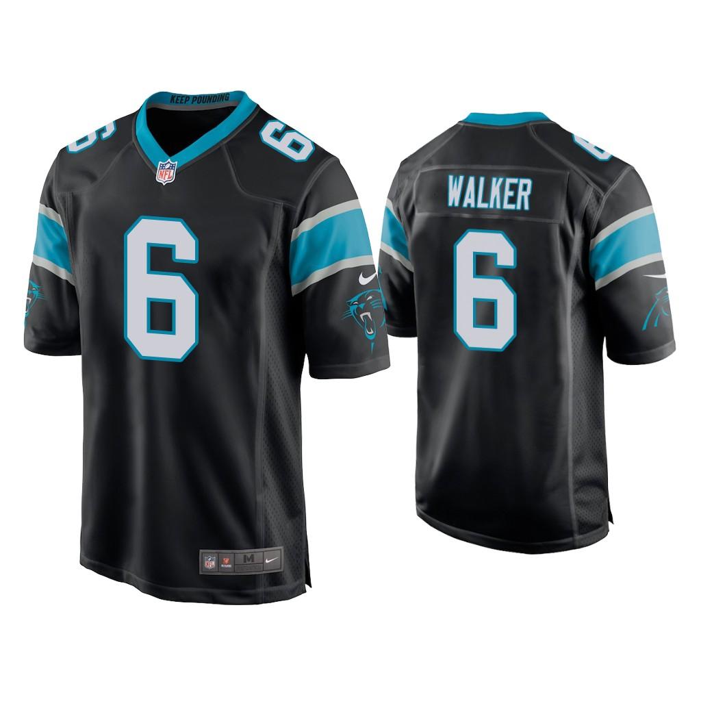 Men's Carolina Panthers #6 P.J. Walker Black Game Nike Jersey