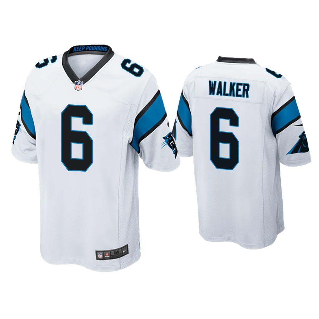 Men's Carolina Panthers #6 P.J. Walker White Game Nike Jersey