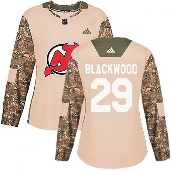 Women's New Jersey Devils #29 MacKenzie Blackwood Adidas Authentic Mackenzie wood Camo Veterans Day Practice Jersey