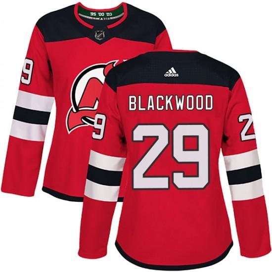 Women's New Jersey Devils #29 MacKenzie Blackwood Adidas Authentic Mackenzie wood Red Home Jersey