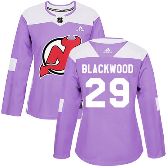 Women's New Jersey Devils #29 MacKenzie Blackwood Adidas Authentic Mackenzie Blackwood Fights Cancer Practice Jersey - Purple