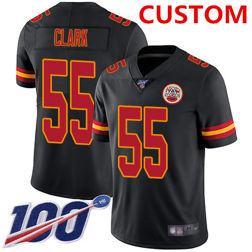Nike Kansas City Chiefs Custom Black Men's Stitched NFL Limited Rush 100th Season Jersey
