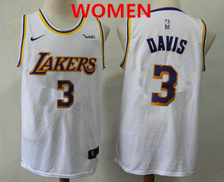 Women's Los Angeles Lakers #3 Anthony Davis 2019 White Nike Swingman Wish Stitched NBA Jersey