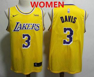 Women's Los Angeles Lakers #3 Anthony Davis 2019 Yellow Nike Swingman Wish Stitched NBA Jersey
