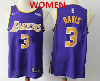 Women's Los Angeles Lakers #3 Anthony Davis 2019 Purple Nike Swingman Wish Stitched NBA Jersey