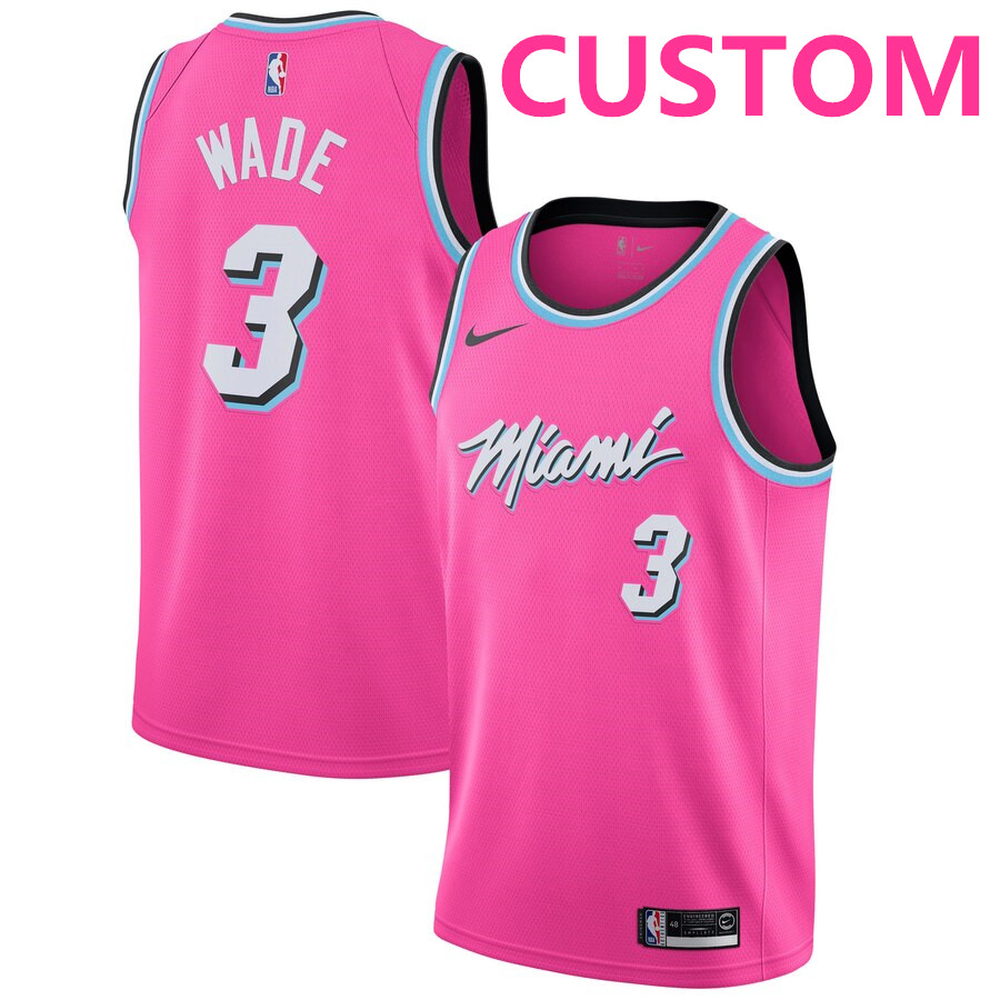 Men's Miami Heat Custom Nike Pink 2018-19 Swingman Earned Edition Jersey