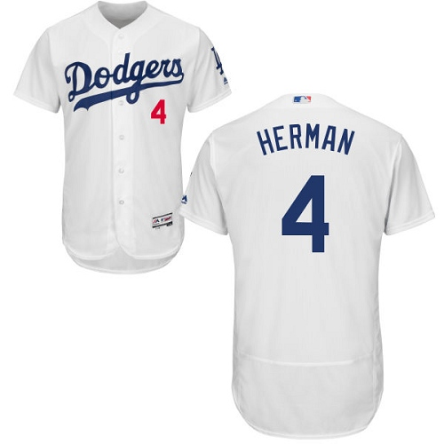 Men's Los Angeles Dodgers #4 Babe Herman Authentic White Baseball Flex Base Home Jersey
