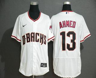 Men's Arizona Diamondback #13 Nick Ahmed White Stitched Nike MLB Flex Base Jersey