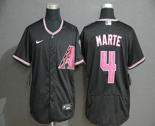 Men's Arizona Diamondback #4 Ketel Marte Black Stitched Nike MLB Flex Base Jersey