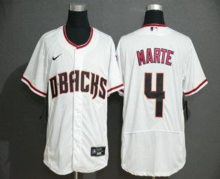 Men's Arizona Diamondback #4 Ketel Marte White Stitched Nike MLB Flex Base Jersey