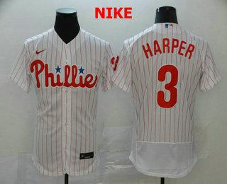 Men's Philadelphia Phillies #3 Bryce Harper White Home Stitched MLB Flex Base Nike Jersey