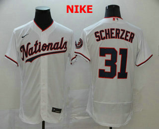 Men's Washington Nationals #31 Max Scherzer White Stitched MLB Flex Base Nike Jersey