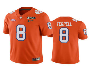 Men's Clemson Tigers #8 A.J. Terrell Orange 2020 National Championship Game Jersey