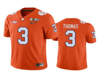 Men's Clemson Tigers #3 Xavier Thomas Orange 2020 National Championship Game Jersey