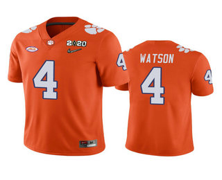 Men's Clemson Tigers #4 Deshaun Watson Orange 2020 National Championship Game Jersey