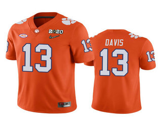 Men's Clemson Tigers #13 Tyler Davis Orange 2020 National Championship Game Jersey