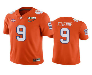 Men's Clemson Tigers #9 Travis Etienne Orange 2020 National Championship Game Jersey