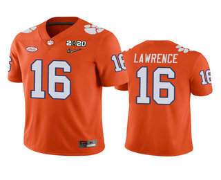 Men's Clemson Tigers #16 Trevor Lawrence Orange 2020 National Championship Game Jersey