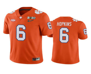 Men's Clemson Tigers #6 DeAndre Hopkins Orange 2020 National Championship Game Jersey