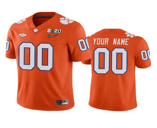 Men's Clemson Tigers Custom Orange 2020 National Championship Game Jersey
