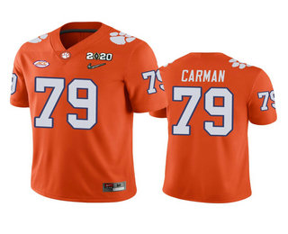 Men's Clemson Tigers #79 Jackson Carman Orange 2020 National Championship Game Jersey