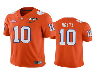 Men's Clemson Tigers #10 Joseph Ngata Orange 2020 National Championship Game Jersey