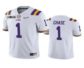Men's LSU Tigers #1 Ja'Marr Chase White 2020 National Championship Game Jersey