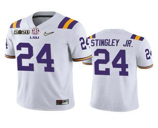 Men's LSU Tigers #24 Derek Stingley Jr. White 2020 National Championship Game Jersey