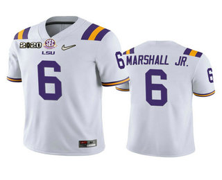 Men's LSU Tigers #6 Terrace Marshall Jr. White 2020 National Championship Game Jersey