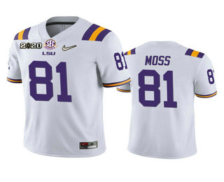 Men's LSU Tigers #81 Thaddeus Moss White 2020 National Championship Game Jersey