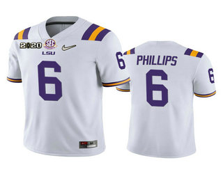 Men's LSU Tigers #6 Jacob Phillips White 2020 National Championship Game Jersey