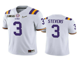 Men's LSU Tigers #3 JaCoby Stevens White 2020 National Championship Game Jersey