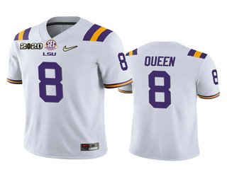 Men's LSU Tigers #8 Patrick Queen White 2020 National Championship Game Jersey