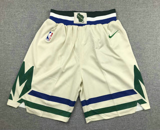 Men's Milwaukee Bucks Cream 2020 City Edition NBA Swingman Shorts