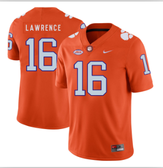 Men's Clemson Tigers #16 Trevor Lawrence Orange Jersey