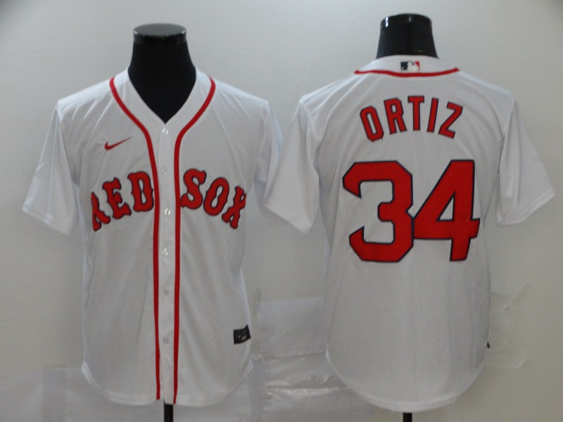 Men's Boston Red Sox #34 David Ortiz White Stitched MLB Cool Base Nike Jersey
