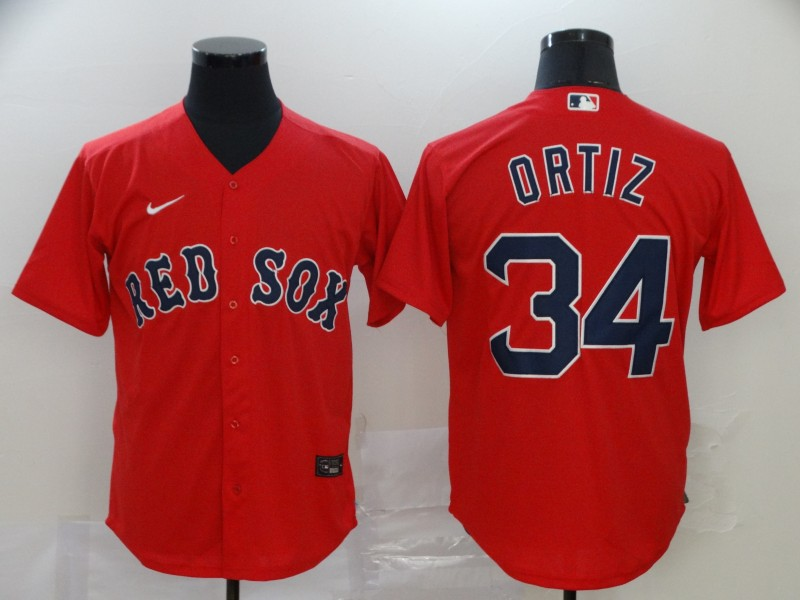 Men's Boston Red Sox #34 David Ortiz Red Stitched MLB Cool Base Nike Jersey
