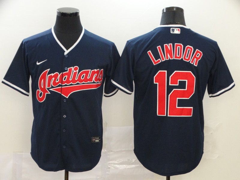 Men's Cleveland Indians #12 Francisco Lindor Navy Blue Stitched MLB Cool Base Nike Jersey