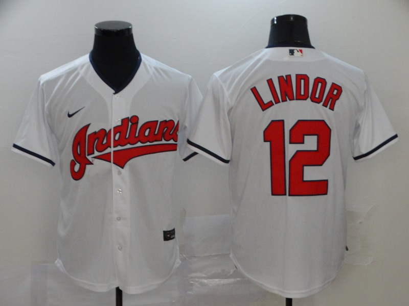 Men's Cleveland Indians #12 Francisco Lindor White Stitched MLB Cool Base Nike Jersey