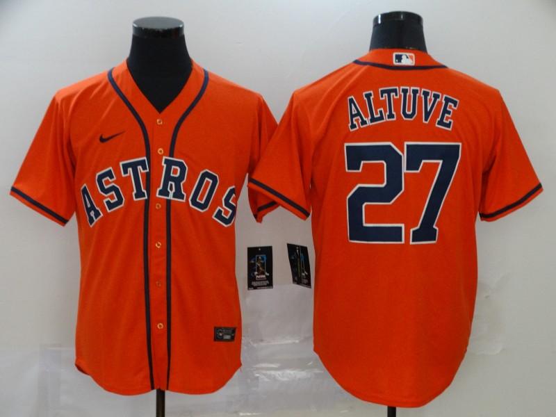 Men's Houston Astros #27 Jose Altuve Orange Stitched MLB Cool Base Nike Jersey
