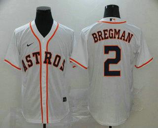 Men's Houston Astros #2 Alex Bregman White Stitched MLB Cool Base Nike Jersey