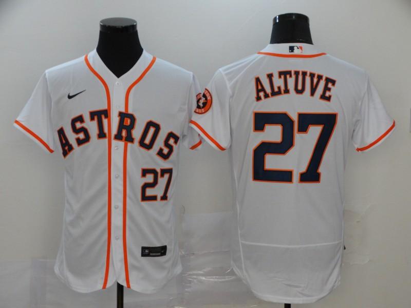 Men's Houston Astros #27 Jose Altuve White Stitched MLB Flex Base Nike Jersey